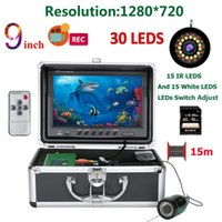 Cameras 9 Inch Double Lamp 15M 30M Camera For Fishing 16G DVR Fish Finder Underwater 1080P HD 1280*720 Screen