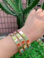Bangle Fashion Trendy Zircon Bracelet Cuff Jewelry Multi Color Smile Enamel For Women