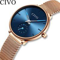 Wristwatches CIVO Watches Womens Top Quartz Watch Ladies Waterproof Steel Mesh Strap Women's Bracelet Clock Montre Femme