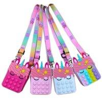 Fidget Sensory Bubble Bretelle Bletselle Straps Straps Finger Phone Teléfono Pulso Funda Cambiar monedero Monedero Descompresión Unicornio Popping Toys Para Niños Niñas
