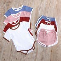 Симпатичные комбинезон комбинезон Футболка + шорты брюки набор летних 2-х частей одежды трексуит шорты пижамы дети девушки мальчик детская одежда одежда CZ022D