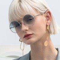 Sonnenbrille Männer Runde für Frauen 2021 Mode Gradient UV Schutz Vintage Punk Red Linsen Gelb Steampunk Gläser