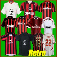 Manica lunga 90 91 Camicie retro Casa 96 97 Gullit Jersey di calcio 01 02 03 Maldini Van Basten Football Ronaldo Kaka Inzaghi 06 07 AC Milan 2009