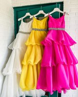 Candy Color Organza Little Girl Pageant Dresses 2021 Straps Infant Toddler Girls Prom Gowns Zipper-Back Ruffles Long Kids Formal Party Birthday Princess Wear