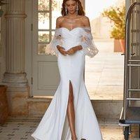 Elegant Satin Mermaid Wedding Dress Front Split Off the Shoulder Sheer Long Sleeve Bridal Gowns Modest vestido de novia