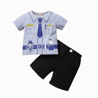 Boys Clothing Sets Baby Outfits Kids Clothes Summer Cotton Letter Cartoon Print T-shirts Shorts Pants Infant Casual Wear 2Pcs B8264