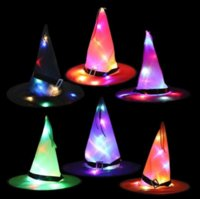 Halloween hats Halloweens decoration props LED string lights glowing witch hat scene layout party supplies magician sorceress chapeau wizard cap gyq