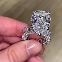 Großer diamant ring vintage schmuck 925 sterling silber einzigartig cocktail birne schnitt weiß topaz edelsteine frauen hochzeit engagement band ring