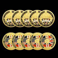 5PCS 70th الذكرى معركة نورماندي ميدالية الحرفية من التحدي العسكري مذهب العملات الأمريكية للعمل مع كبسولة صعبة