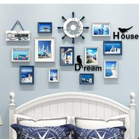 Frames Blue White Po Frame Combination Hanging Wooden Pictures Layout Sofa Background 3d Wall Sticker Mural Letter Decal