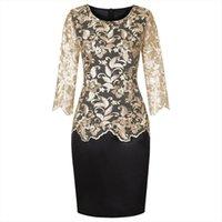 Plus size elegante mãe mulheres vestidos falsificados dois pedaços conjunto o pescoço meia manga lace joelho comprimento terno terno verão