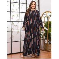 Vestidos casuais plus size vestido 2021 elegante vintage impressão maxi longo o pescoço manga solta negra africana para mulheres com bolso