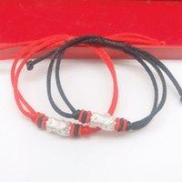 999 Sterling Silver Zhaocai Red Rope Trançado Pulseira 3D Hard prata prata prata Kirin Masver's Lover Pulseira