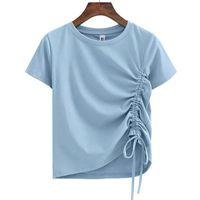 Женская футболка женские футболки O-шеи топы лето с короткими рукавами женские стиль стиль твердого лука хлопчатобумажные тонкие тройники футболки футболки