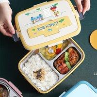 Paslanmaz Çelik Öğrenci Öğle Yemeği Kutusu Taşınabilir Çocuk Yalıtım Mühürlü Yemek Tabağı Bento Kutuları Gıda Konteyner HWF10267