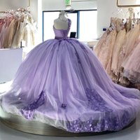 2022 Lilac Quinceanera Dresses with Lace Applique Sweet 16 Dress Beaded One Shoulder vestidos de 15 años Puffy Train Prom Party Gowns
