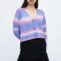 Women's Knits & Tees Women Knitted Cardigans Sweater 2021 Autumn Jacquard Long Sleeve Loose Coat Casual Button V Neck Female Tops Chic Cloth