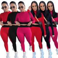 718814377 Designer Women Cotton Tracksuits Yoga Fitness Sportswear Slim Outfits Jogging Suits Long Sleeve Crop Tops Leggings Spring Fall Cycling Clothing