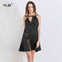 Galcaur Сексуальное пэчворное металлическое платье для женщин асимметричный воротник без рукавов высокая талия черные платья женское лето 210531
