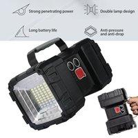 Фонарические фонарики Super Bright XHP70 LED Водонепроницаемая аккумуляторная лампа лампы портативный рабочий свет загоряющийся прожектор