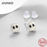 Stud 100% Authentic 925 Sterling Silver White Enamel Cute Little Ghost Studs Earrings For Women Gift Fashion Earings Luxury Party