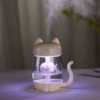 Увлажнитель воздуха Cat с цветным светом Светодиодный ультразвук очаровательный кот ест рыбы гумидификатор USB аромат диффузор Fogger для дома