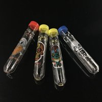 Mini billig Glas Strohrohr Zigarettenfilterrohre Glasfilter Tipps Dicke Pyrex Glas Raucherpfeifen zum Rauchen mit Kunststoffkappe