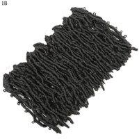 긴 합성 크로 셰 뜨개질 나비 locs 머리카락 확장 16inch pre 루프 루프 링 된 매듭 화학 섬유 나비 뜨개질 나비