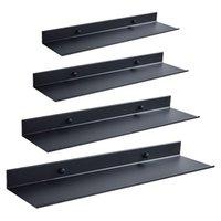 Bathroom Accessories Space aluminum Black Bathroom Shelves Kitchen Wall Shelf Shower Storage Rack 30-60cm X0715