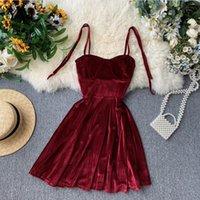 Yuoomuoo элегантный старинный готический спагетти ремешок платье раннее осень базовые женщины короткие вечеринки платья тонкие высокие талии мини-платье 210224