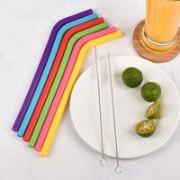 6 STÜCKE + 2Brush / Set 23cm Candy Colors Silikon Stroh wiederverwendbar Gefaltet gebogener Straw Home Bar-Zubehör Silikon-Röhre DHF5274
