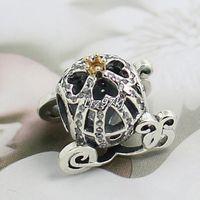 2015 Yeni 925 Ayar Gümüş 14 K Gerçek Altın Külkedisi Kabak Charm Boncuk Avrupa Pandora Takı Bilezik Kolye Kolye Uyar