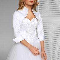 Vestes wraps blanc ivoire 3/4 manches veste de mariage satin boléro pour robes de soirée accessoires formels de mariée
