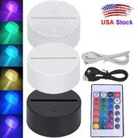 3D Illusion Night Light LED Lámpara Bases 7 Colores Cable USB Toque Interruptor Control remoto Reemplazo Cambiar Color Lámpara Para Color