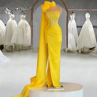Elegant Yellow Satin Long Mermaid Evening Dresses 2021 Sparkly Sequins Plus Size Pageant Prom Party Gowns Robe De Soiree