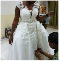 Overskirts Wedding Dresses Cap Sleeves beading Beach Bridal Gowns Lace Appliqued Mermaid Dress Vestidos De Noiva