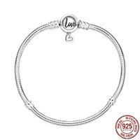 925 Sterling Silver Love Chain Buckle Snake Forma Fit Fit original 3mm BraceletBangle Fazendo moda DIY Jóias para mulheres