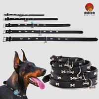 PU-Leder Hundehalsband Durable Gepolsterte personalisierte Haustier-ID-Halsbänder angepasst für kleine mittlere große Hunde Katze rot schwarz x0703