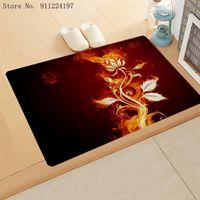 Carpets 3D Flame Flower Print Kitchen Entrance Door Mat Coral Velvet Carpet Dandelion Pattern Indoor Floor Mats Non-Anti-Slip Rug