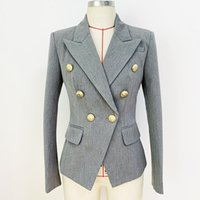 Women's Suits & Blazers HIGH QUALITY Est 2021 Designer Jacket Star Style Classic Lion Buttons Double Breasted Slim Fitting Blazer Pale Grey