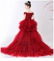 Vestidos da menina fora do ombro vermelho laço menina casamento festa flor vestido longo trailing miúdos princesa concurso de princesa vestido de primeira comunhão