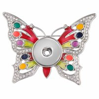 Charm JewelryCharm Bracciali Crystal Butterfly Brooch Fit 18mm Pulsante a scatto Gioielli per le donne Matrimoni Brooches Pins Dono regalo Consegna 2021