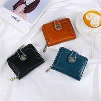 Wallets 2021 Est Women Lady Clutch Short Oil Wax PU Leather Wallet Card Holder Phone Bag Case Purse Female Vantage