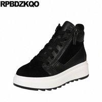 Новые круглые туфли на платформе с круглым носком натуральная кожа переднего кружева повседневные ботинки осечники осенью женщин Flatform черный высококачественные пинетки P15A #