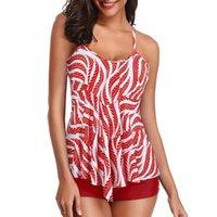 ملابس السباحة النسائية Tankini المايوه ورقة طباعة بحر المرأة السباحة البدلة الاستحمام زائد الحجم