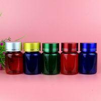 60 g de plástico vacío azul verde botella rojo medicina píldora píldoras embalaje botellas con tapa envío rápido F794