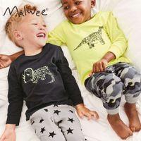 Malwee Осенняя новая пижама двух кусок прекрасный печать нижнее белье детская домашняя одежда