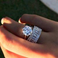 Vintage 3CT Lab Diamond Anillo de diamante Conjuntos nupciales Real 925 COMPROMISO DE PLATA DE PLATA DE COMPROMISO DE BODA PARA MUJERES HOMBRES JOYERÍA DE PISTONA DE PISTONA