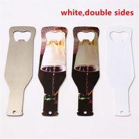 Großhandel! Sublimation Leerer Flaschenöffner Doppel-Seiten Weiß Schlüsselanhänger für Sublimating DIY Metall Custom Bieröffner Wärmeübertragung A12