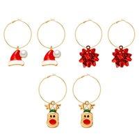 Christmas Hat Elk Flower Earrings Hoop European Women Alloy Pearl Circle Earring Festival Gift Three Piece Jewelry Sets Accessories Wholesale
